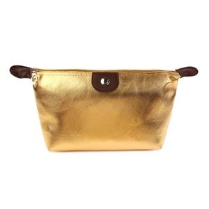 Gold Cosmetic bag with 2 beauty gifts